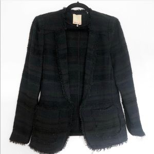 Rebecca Taylor Tweed Blazer with Frayed Edges Navy